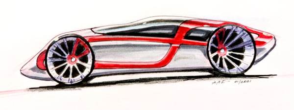 Student car sketch done as part of the automotive design course